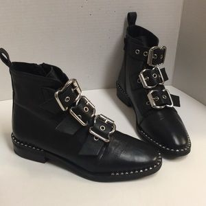 Top shop Alfie Black studded leather Moto boots